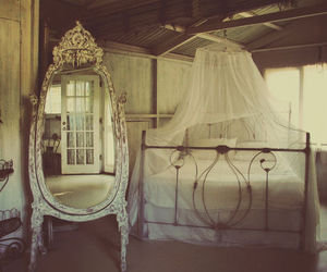 bed, mirror, and bedroom image