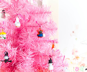 pink, tree, and christmas image