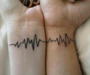 tattoo, couple, and heartbeat image