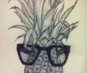 drawing, glasses, and pineapple image