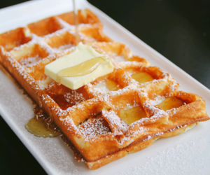 waffles, butter, and dessert image