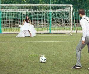love, football, and wedding image