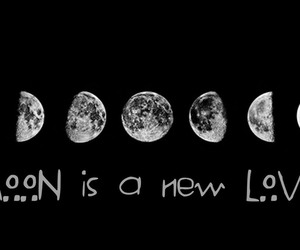 background, black and white, and moon image