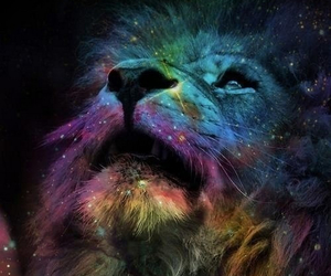 galaxy, lion, and sky image
