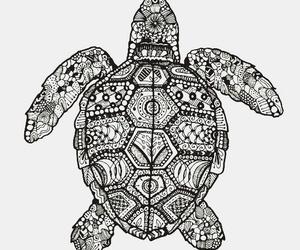 turtle, black and white, and mandala image