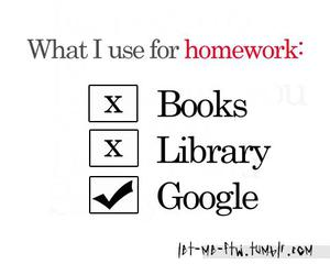 homework, book, and google image