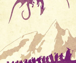 the hobbit, watercolor poster, and lord of the rings poster image