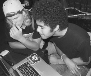 boys, laptop, and music image