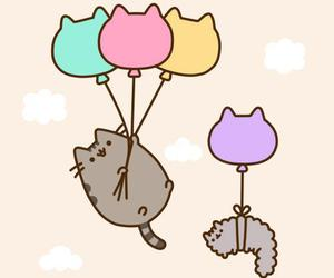 cat, pusheen, and balloons image