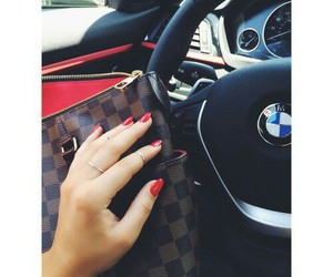 bag, red nails, and bmw image