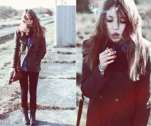 girl, smoke, and beautiful image
