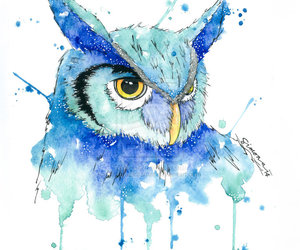owl, watercolor, and art image