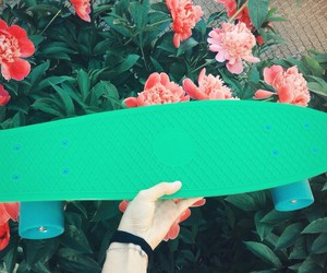 flowers, skate, and green image