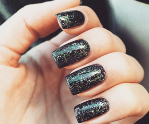 black, nails, and sparkle image