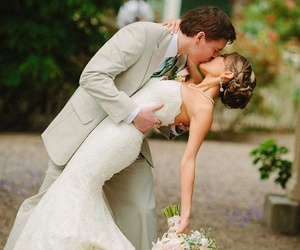 love, bride, and kiss image