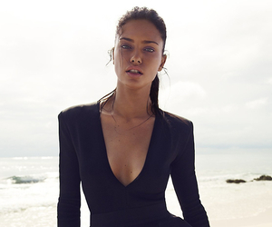 model, Adriana Lima, and beach image