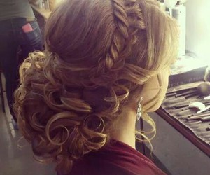 chignon, tresse, and hairs image