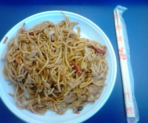 chinese food, spaghetti, and chopsticks image