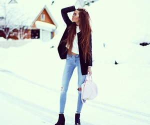 snow, fashion, and winter image