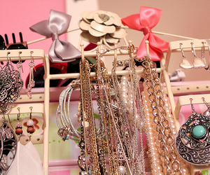 necklace, bow, and girly image