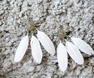 earrings, feather, and fashion image