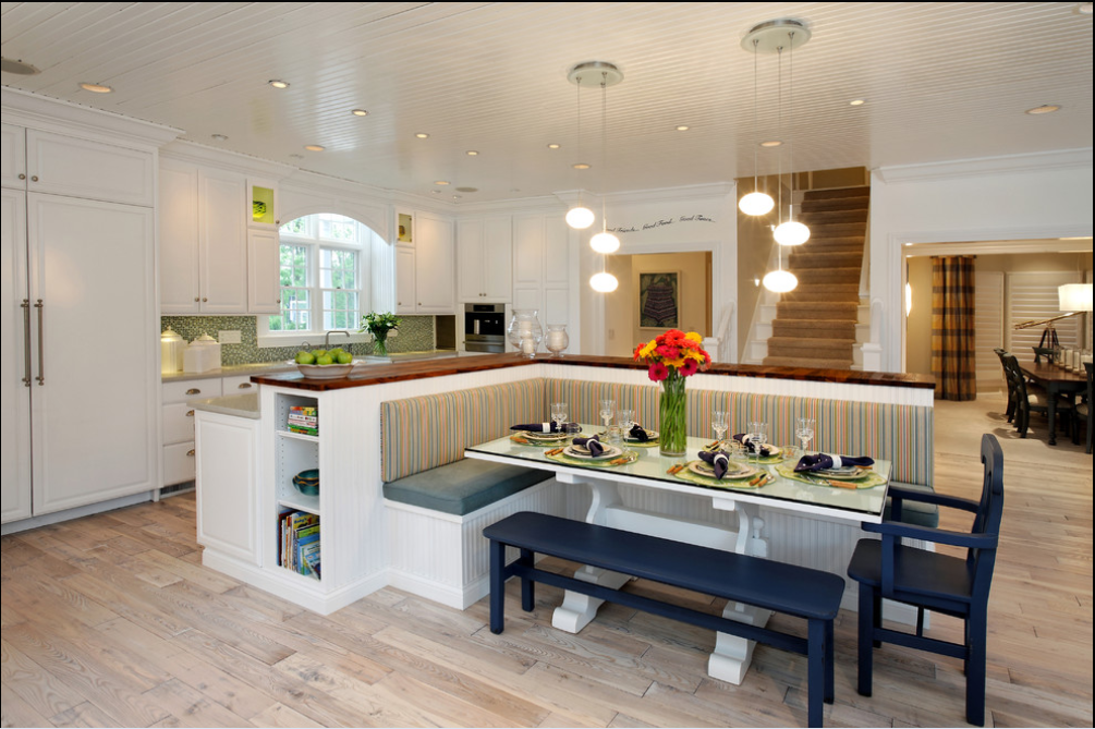 Inspiring LShaped Banquette Backing To Kitchen Island ...