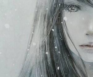 snow, art, and girl image
