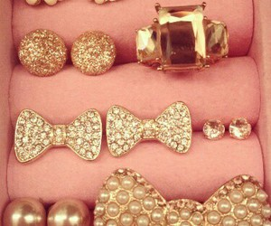 gold, bow, and pink image