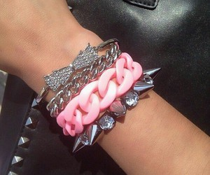 bow, bracelets, and pink image