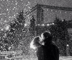 bridge, snow, and couple image
