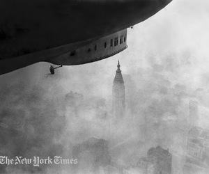 air, airship, and black and white image