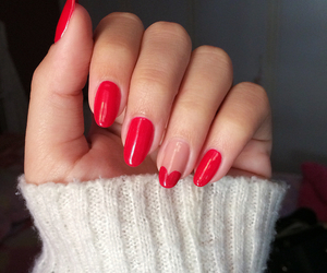 heart, nails, and red nails image