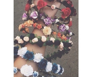 flowers, crown, and tumblr image