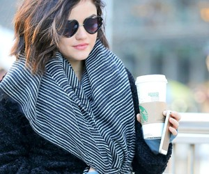 lucy hale, starbucks, and pretty little liars image