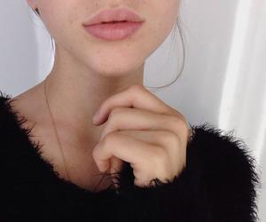 girl, black, and lips image