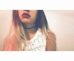 blonde, redlips, and choker image