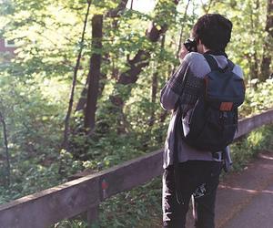 boy, trees, and camera image
