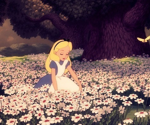 alice, flowers, and alice in wonderland image