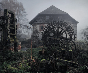 house, nature, and abandoned image