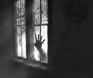 horror, black and white, and black image