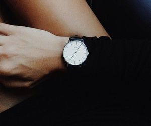 fashion, watch, and black image