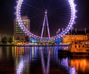 london, london eye, and light image
