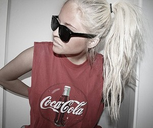 girl, coca cola, and blonde image