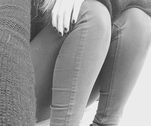 black and white, jeans, and legs image