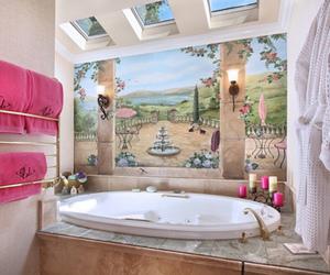 bathtub, interior design, and pink image