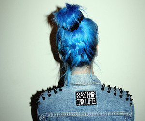 black, blue, and blue hair image