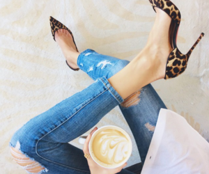 coffee, jeans, and shoes image