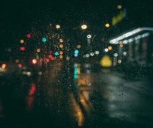 rain, night, and lights image