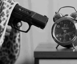 gun, morning, and clock image