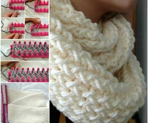 diy, scarf, and knitting image